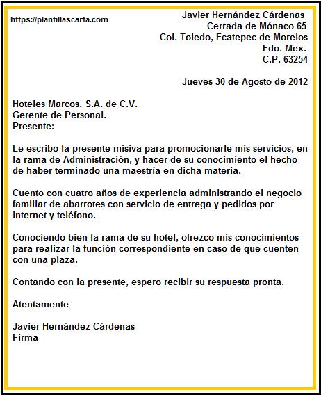 Carta de promoción