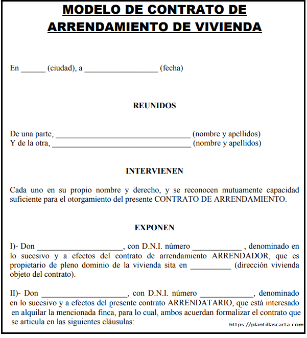 Carta de arrendamiento residencial