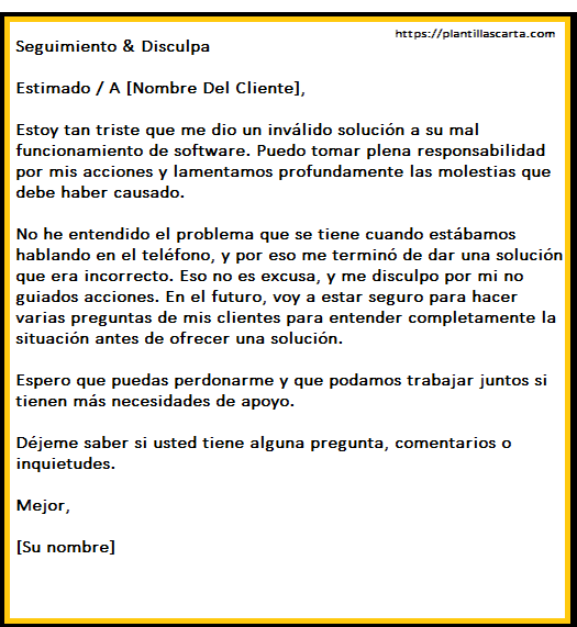 carta de disculpa de negocios