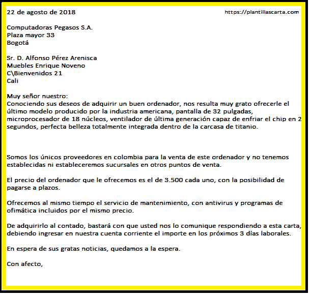 Carta de oferta de compra de negocios