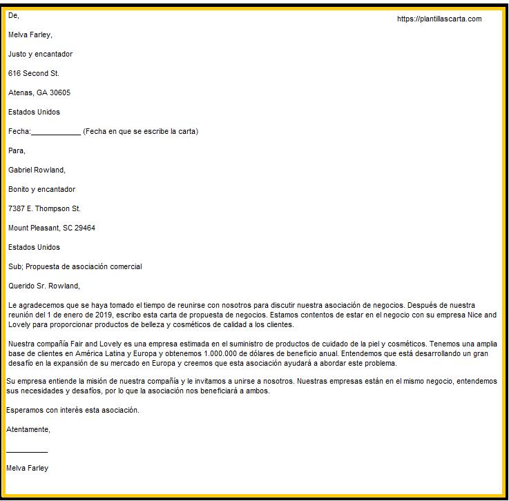 Carta de propuesta de asociación