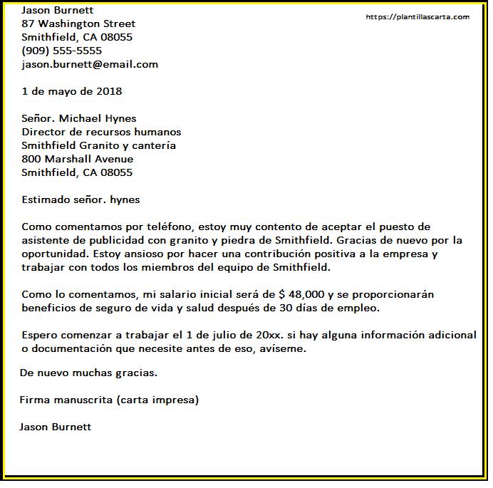 Carta de aceptación del empleo del empleador