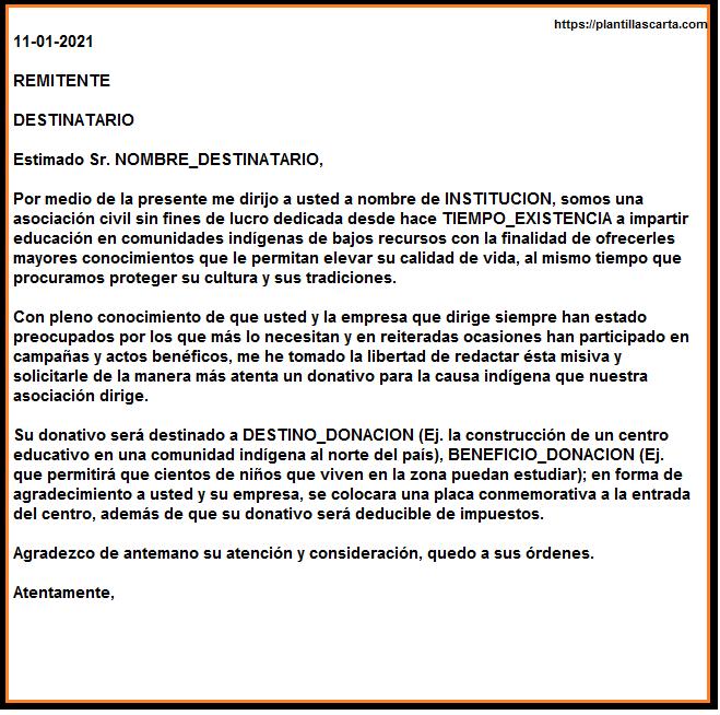 Carta de solicitud de donación empresarial