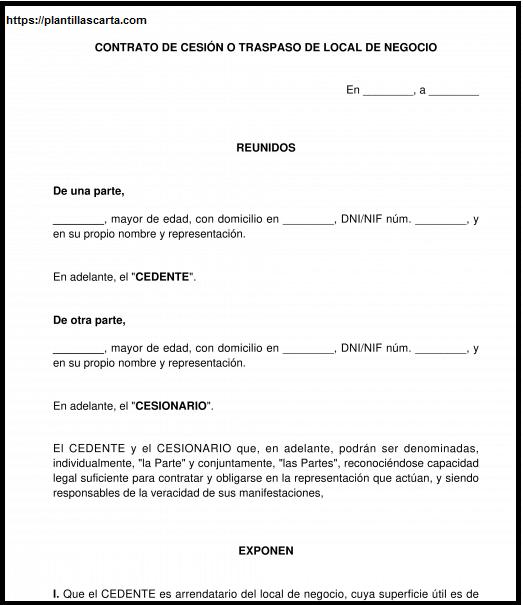 Carta de transferencia de negocios