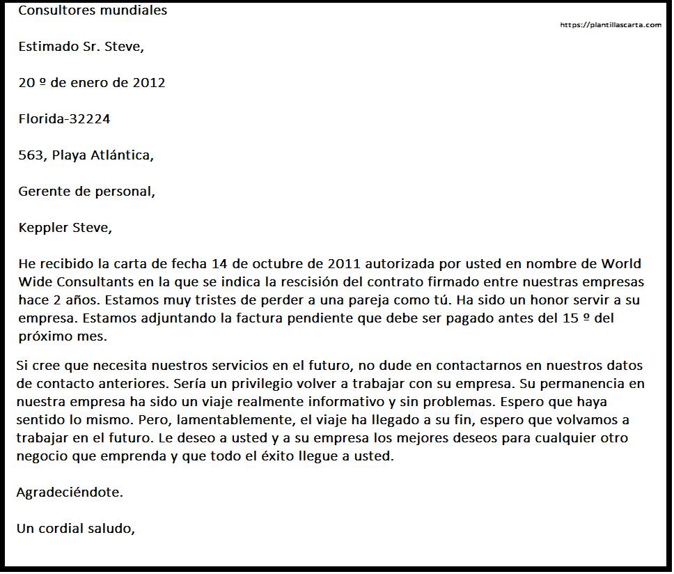 Carta de aceptación de rescisión del contrato