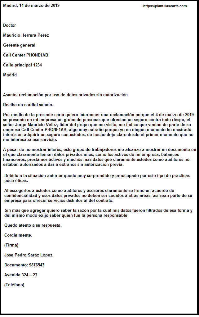 Carta de queja commercial
