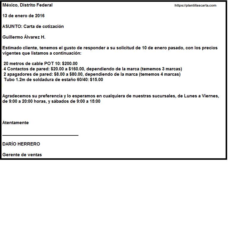 Carta de negocios para la cotización