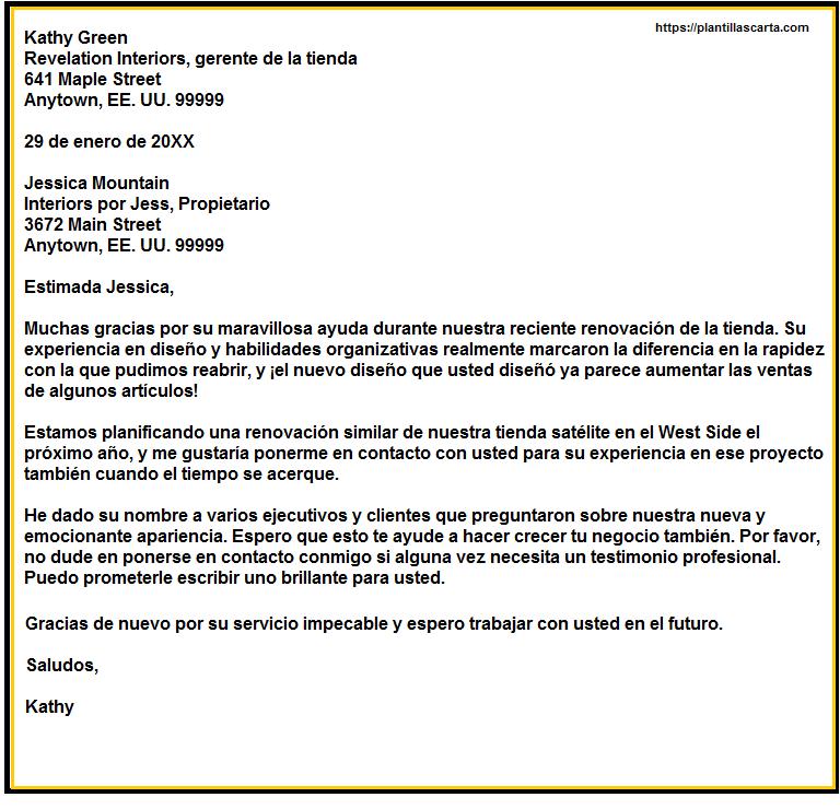 Carta de apreciación del socio comercial