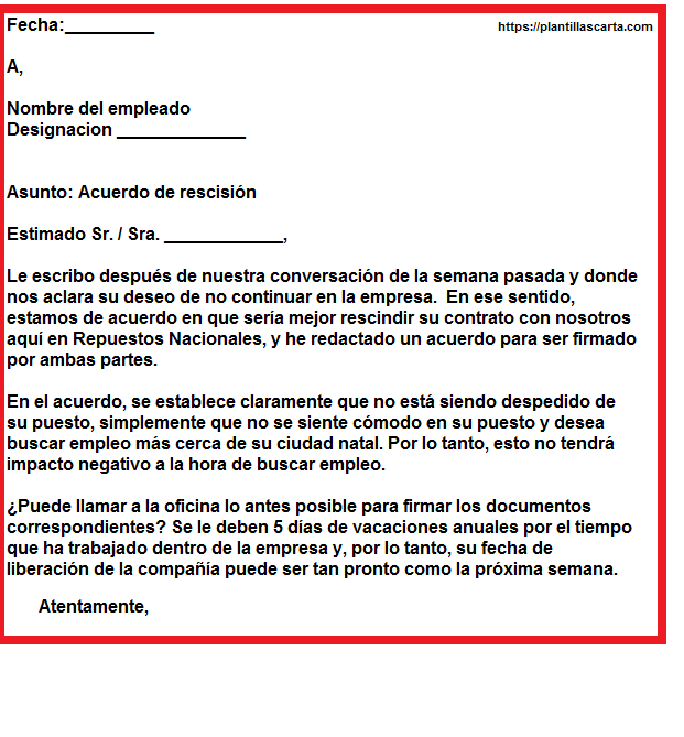 carta de acuerdo de negocios