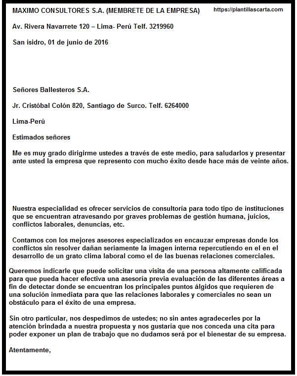 Carta de solicitud de negocios