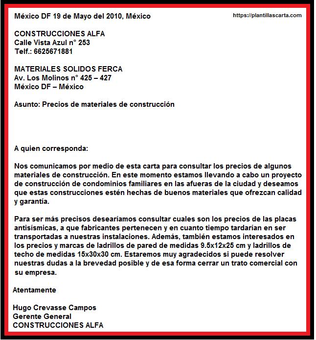 Carta de solicitud de información negocios