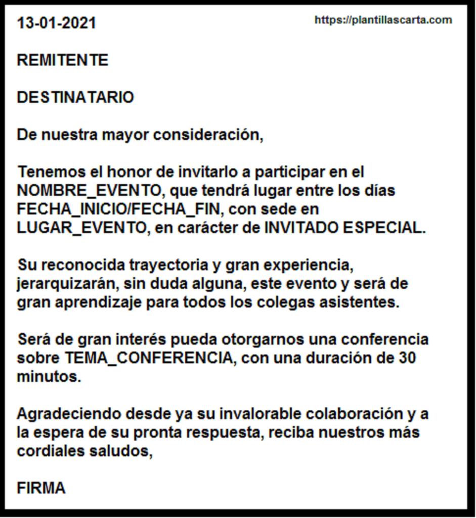 Carta de invitación de aceptación de negocios