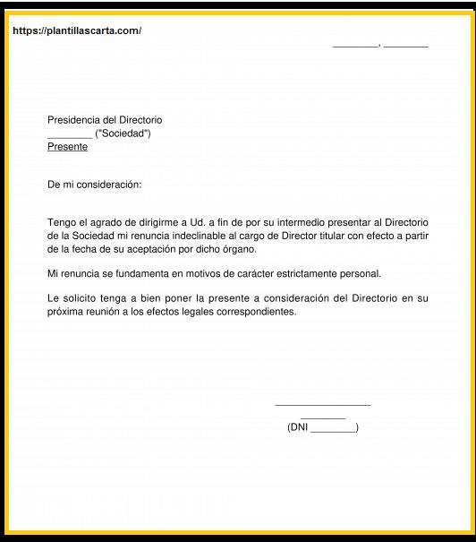 Carta de renuncia del director