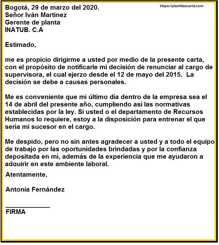 Carta de renuncia de agradecimiento a un compañero de trabajo