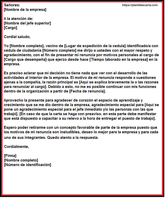 carta de renuncia por razones personales