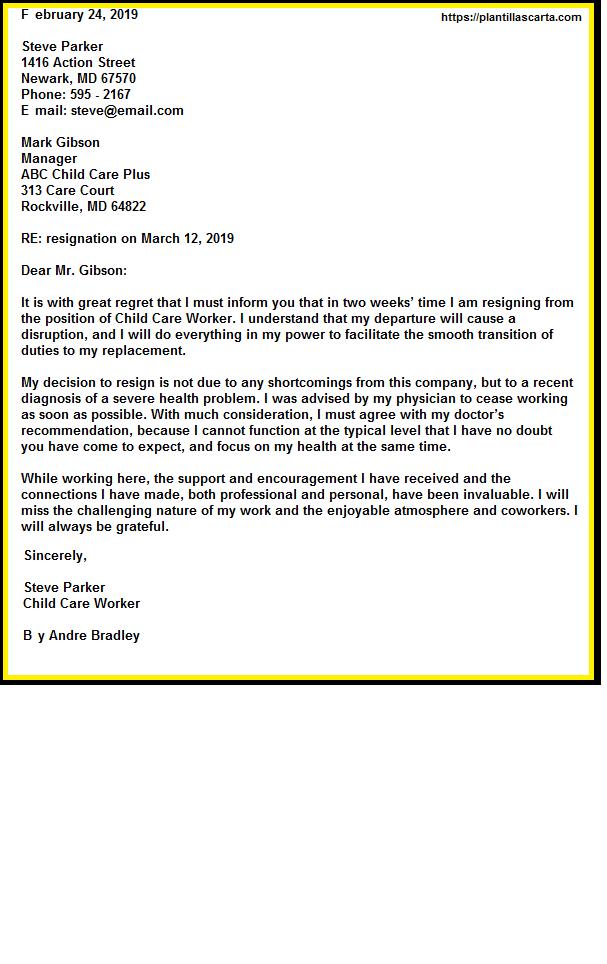 Carta de renuncia del trabajador de cuidado infantile