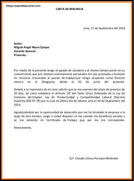 Carta de renuncia casual