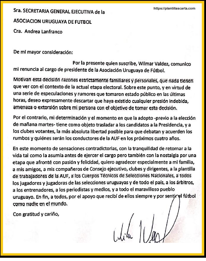 carta de renuncia del entrenador