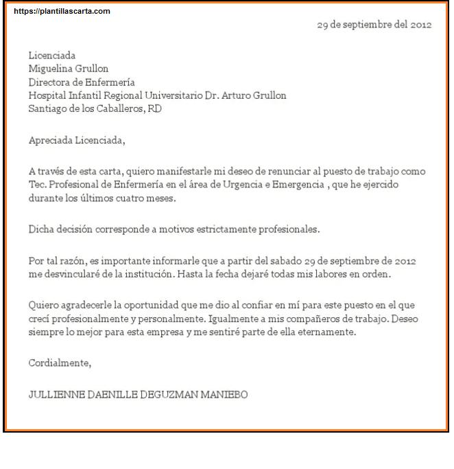 Carta de renuncia de la enfermera