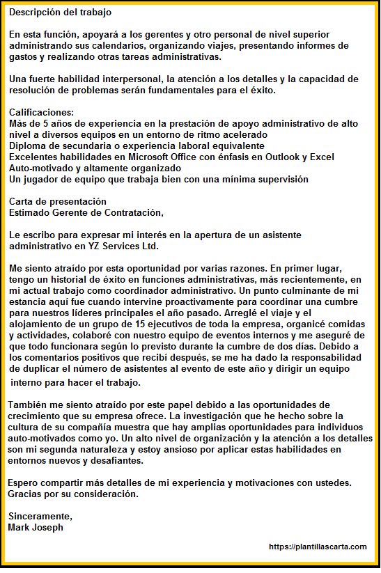 Carta de anuncio de trabajo