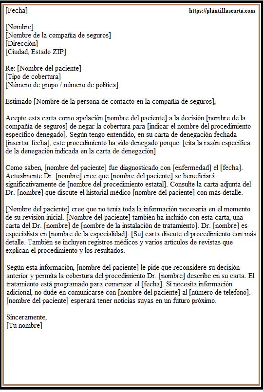Carta de apelación de seguro