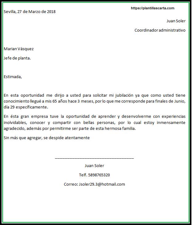 Carta de jubilación