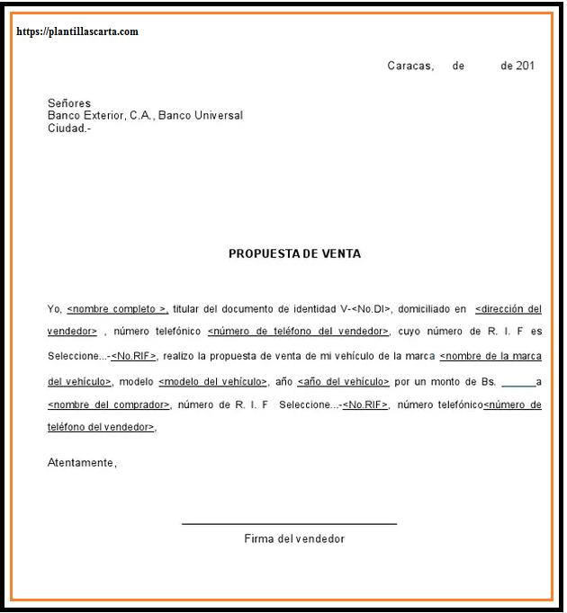 Carta de propuesta de venta