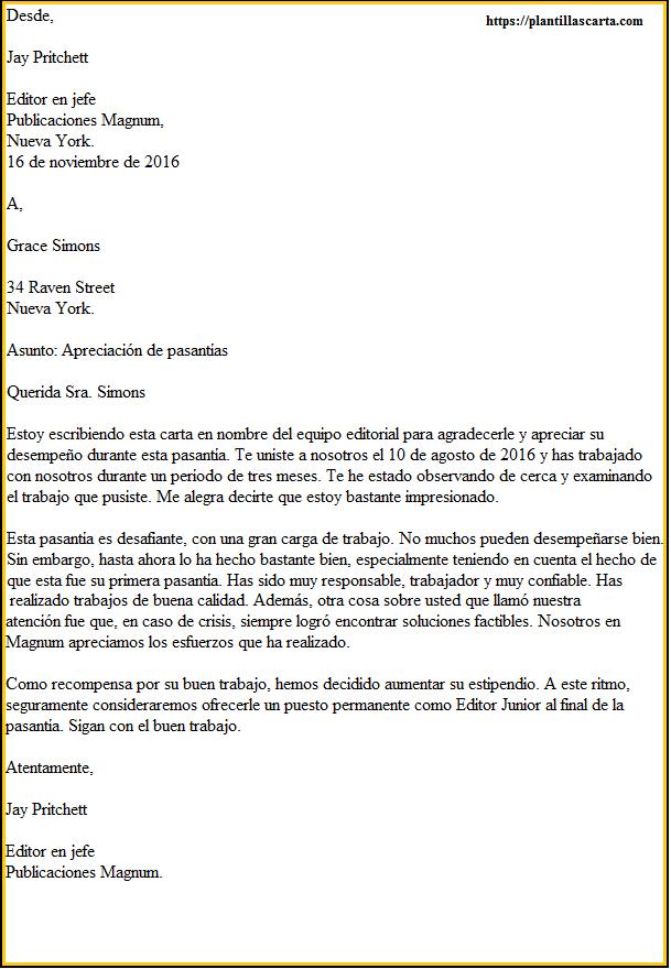 Carta de agradecimiento por pasantía