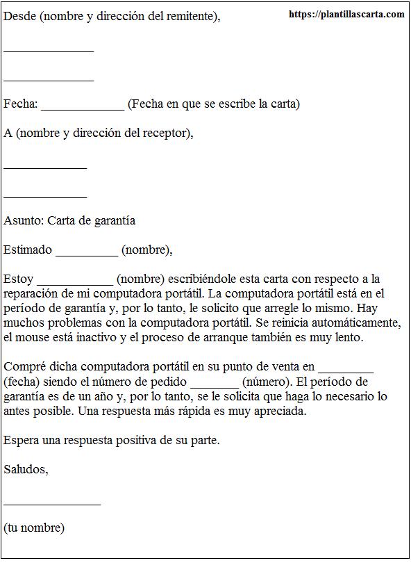 Carta de garantía