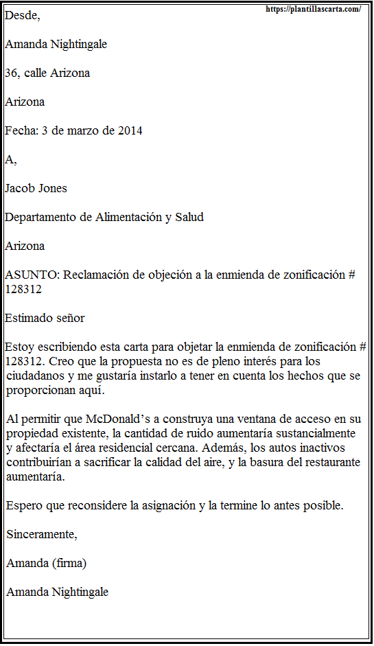 Carta de objeción de reclamo