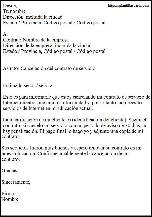 Cancelar un contrato de servicio