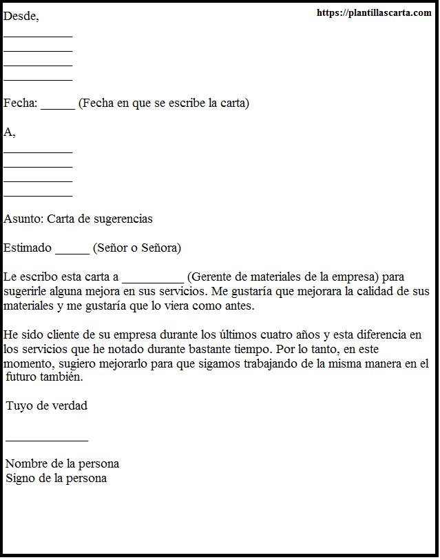 Carta de sugerencias