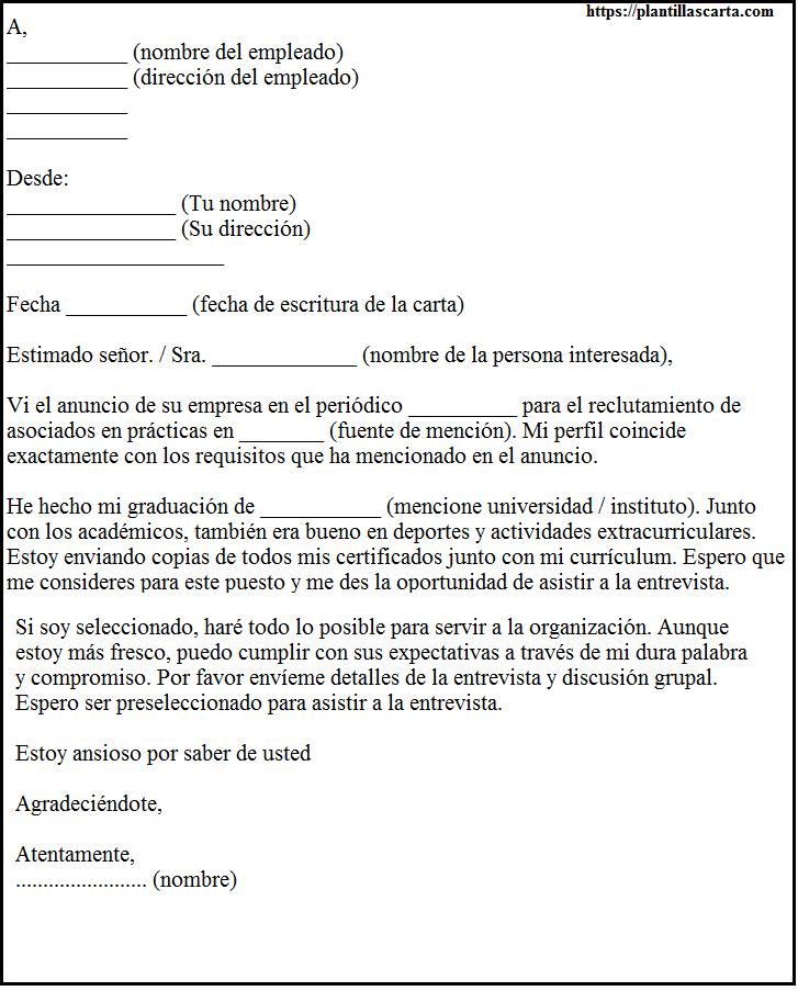 Carta de solicitud de Fresher