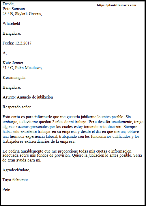 Carta de anuncio de jubilación