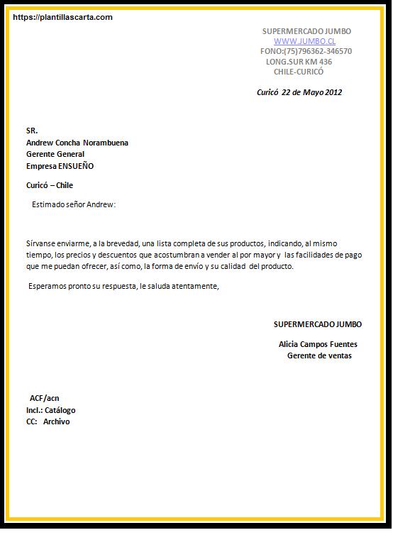 carta de consulta del producto