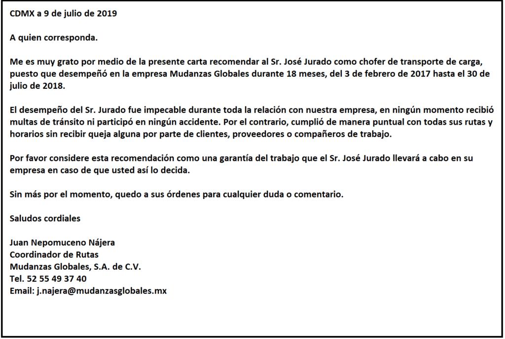 Carta de Recomendación Laboral para Chofer