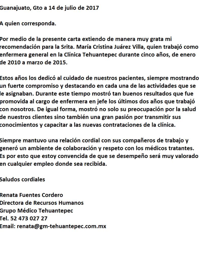 Carta de Recomendación Laboral para Enfermera